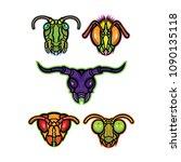 mascot icon illustration set of ... | Shutterstock .eps vector #1090135118