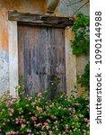 door of house in assos on the... | Shutterstock . vector #1090144988