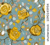 yellow and blue floral pattern. ... | Shutterstock .eps vector #1090145954