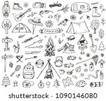 set of doodle forest camping... | Shutterstock .eps vector #1090146080