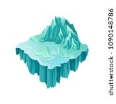 isometric ice island with big...