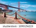 classic view of famous golden... | Shutterstock . vector #1090156223