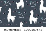 lovely llamas  cute hipster... | Shutterstock .eps vector #1090157546