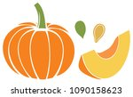 pumpkin with slice and seeds...   Shutterstock .eps vector #1090158623