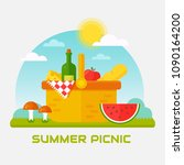 Summer Picnic In Nature. Vecto...