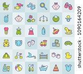 baby modern web icon set.... | Shutterstock .eps vector #1090164209