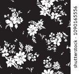 black and white flower pattern | Shutterstock .eps vector #1090165556