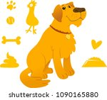 sitting retriever with cute dog ...   Shutterstock .eps vector #1090165880