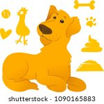 labrador with cute dog icons set   Shutterstock .eps vector #1090165883
