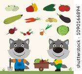 set of isolated vegetables ... | Shutterstock .eps vector #1090166894