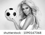 beautiful  sexy blond woman... | Shutterstock . vector #1090167368