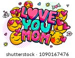 love you mom message in sound... | Shutterstock .eps vector #1090167476