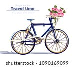 Bicycle Travel Card Vector...
