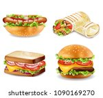 burger  sandwich  hot dog and... | Shutterstock .eps vector #1090169270