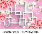 pink flowers with rectangular... | Shutterstock . vector #1090169606