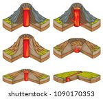 volcanoes  rupture in the crust ...   Shutterstock . vector #1090170353