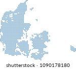 denmark map dots vector outline ... | Shutterstock .eps vector #1090178180