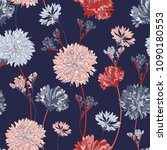 pink big flower seamless vector ... | Shutterstock .eps vector #1090180553