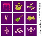 assembly flat icons halloween... | Shutterstock .eps vector #1090185770