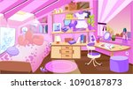 cartoon kid bedroom with girl... | Shutterstock .eps vector #1090187873