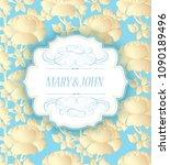 vector wedding invitation with...   Shutterstock .eps vector #1090189496