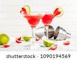 cold strawberry margarita... | Shutterstock . vector #1090194569