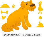 sitting retriever with cute dog ... | Shutterstock .eps vector #1090195106