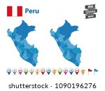 peru   high detailed map with... | Shutterstock .eps vector #1090196276