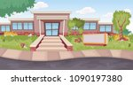entrance door of a cartoon... | Shutterstock .eps vector #1090197380