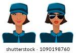 girl in uniform  woman police ... | Shutterstock .eps vector #1090198760