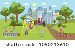 public park in the city with... | Shutterstock .eps vector #1090213610