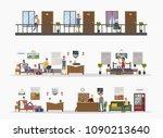 motel city building interior... | Shutterstock .eps vector #1090213640