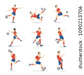 soccer player set with ball on... | Shutterstock .eps vector #1090213706