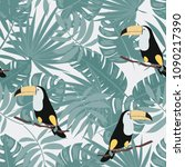 tropical seamless pattern with... | Shutterstock .eps vector #1090217390