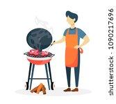 man preparing meat bbq on white ... | Shutterstock .eps vector #1090217696