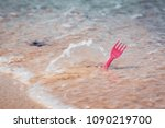 plastic cutlery fork in sea... | Shutterstock . vector #1090219700