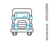 big rig vector thin line stroke ...   Shutterstock .eps vector #1090220006