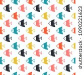 seamless pattern with fish.... | Shutterstock .eps vector #1090221623