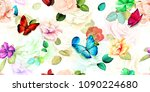 Stock vector wide floral vintage seamless background pattern roses flowers magnolia with leaf and butterfly 1090224680