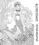 mermaid undersea  hand drawn... | Shutterstock .eps vector #1090228178