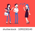 girlfriend feeling jealous....   Shutterstock .eps vector #1090230140