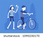 couple in park. two people in... | Shutterstock .eps vector #1090230170