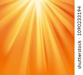 yellow sun rays with orange... | Shutterstock .eps vector #1090233194