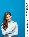 smiling woman wearing white... | Shutterstock . vector #1090240868