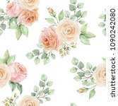 watercolor floral background... | Shutterstock . vector #1090242080