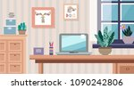 work table with computer ... | Shutterstock .eps vector #1090242806