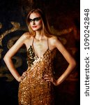 beautiful tall young blond... | Shutterstock . vector #1090242848