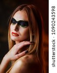 beautiful tall young blond... | Shutterstock . vector #1090243598