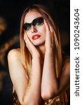 beautiful tall young blond... | Shutterstock . vector #1090243604