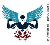 bodybuilder and dumbbell with... | Shutterstock .eps vector #1090245056